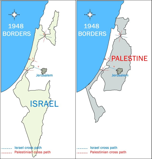 Israel palestine 1948 map borders